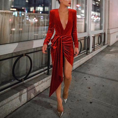 Image of Sexy Deep V Neck Belt Tie Irregular Mini Bodycon Dress Red xl