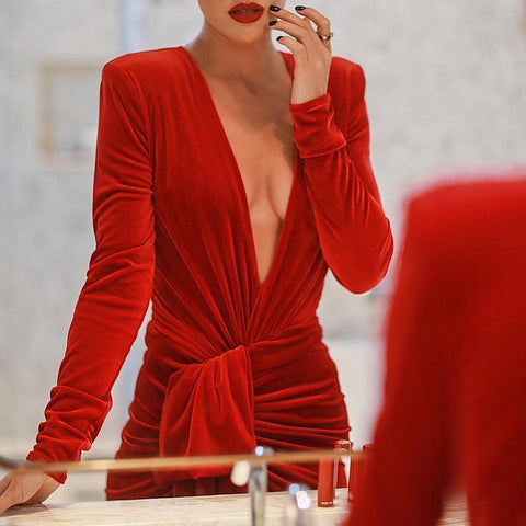 Image of Sexy Deep V Neck Belt Tie Irregular Mini Bodycon Dress Red l