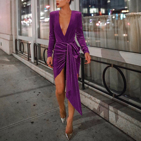 Image of Sexy Deep V Neck Belt Tie Irregular Mini Bodycon Dress Purple s
