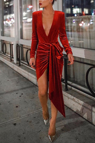 Image of Sexy Deep V Neck Belt Tie Irregular Mini Bodycon Dress Red s