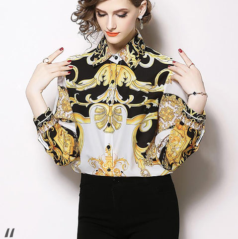 Image of Fashion Print Sleeve Shirt white m