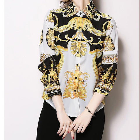 Image of Fashion Print Sleeve Shirt white l