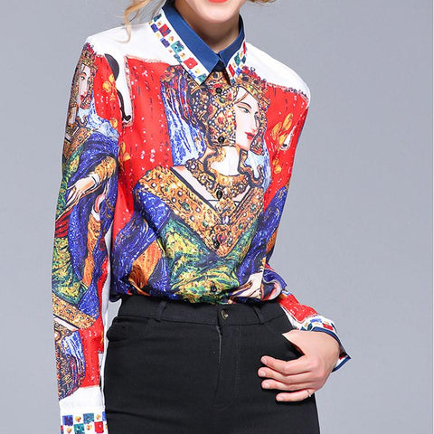 Image of Fashion Print Sleeve Shirt red l