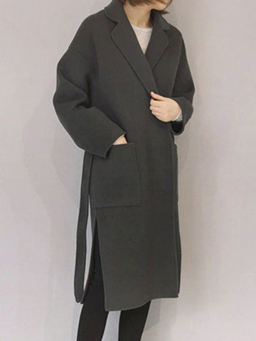 Image of Notch Lapel  Side Slit  Belt  Plain Coat