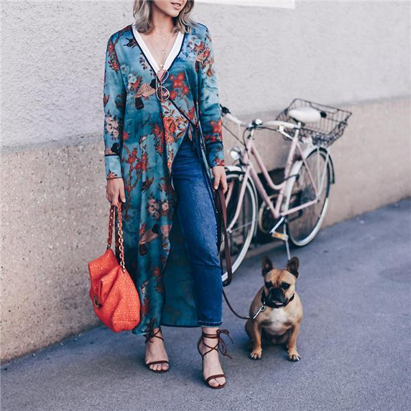 Vacation Stylish Elegant Slim Floral V Collar Long Sleeve Blouse same_as_photo l