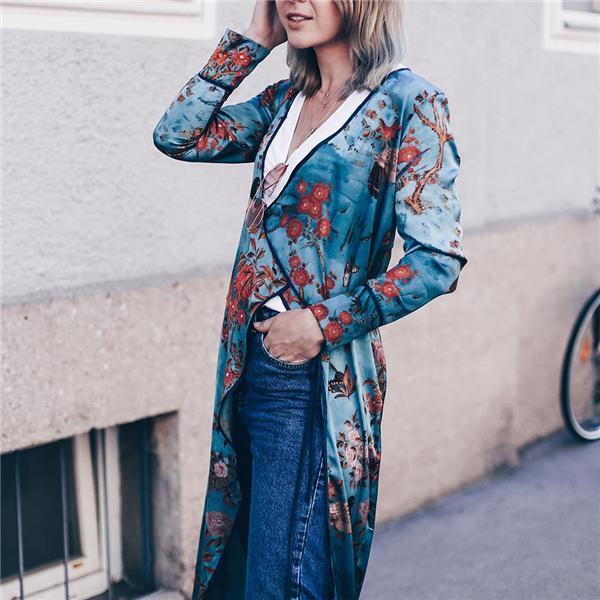 Vacation Stylish Elegant Slim Floral V Collar Long Sleeve Blouse same_as_photo 3xl