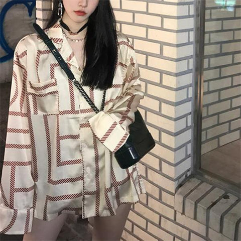 Image of Casual Fashion Nifty Loose Plaid Long Sleeve Long Blouse beige m