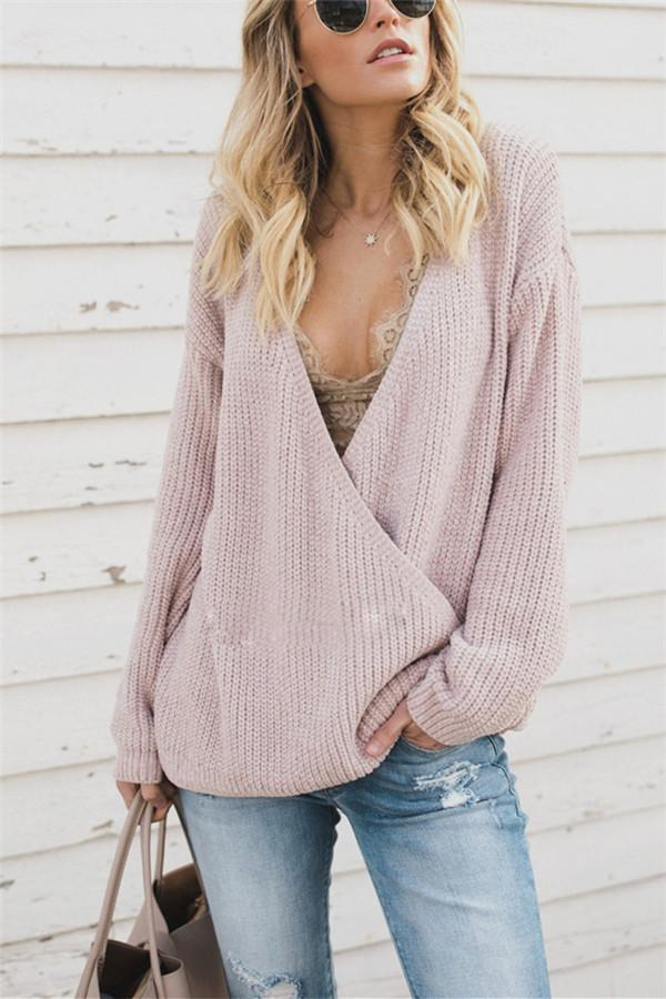 Loose Large Size Knitted Sweater Worn On Both Sides pink s