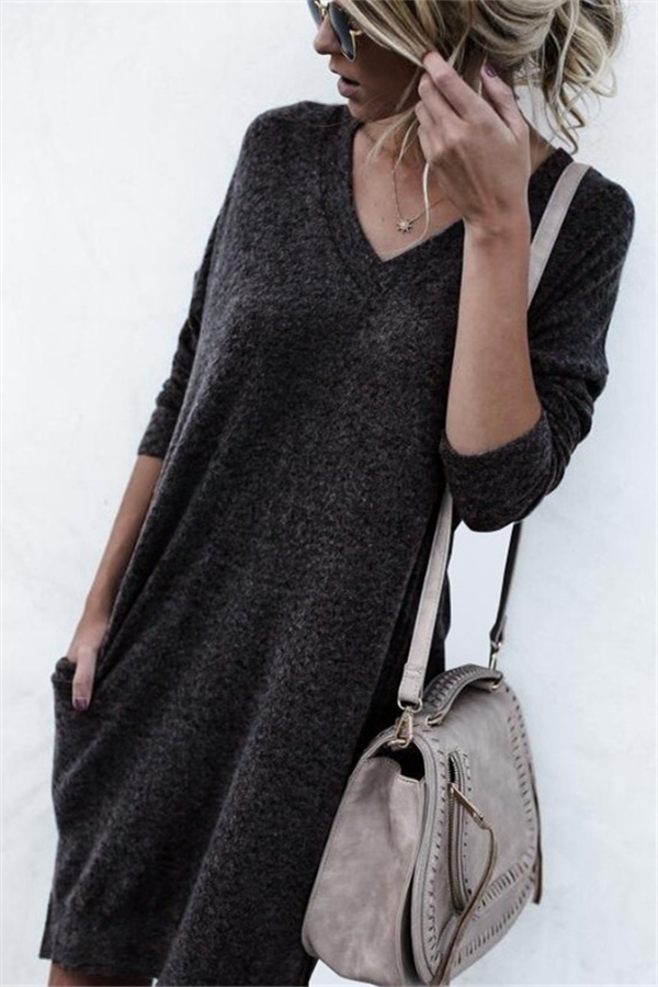 Autumn And Winter Warm Color Long-Sleeved Sweater dark_grey m