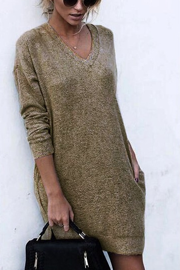 Autumn And Winter Warm Color Long-Sleeved Sweater khaki l