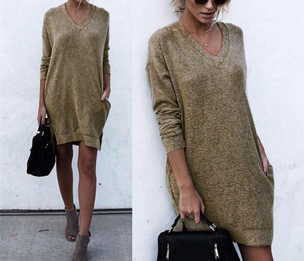 Autumn And Winter Warm Color Long-Sleeved Sweater khaki xl