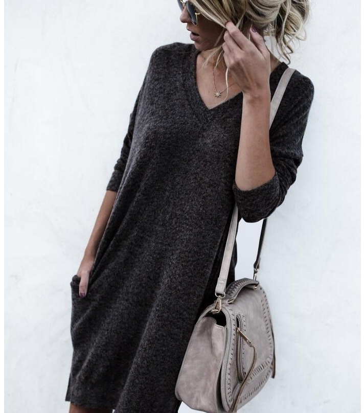 Autumn And Winter Warm Color Long-Sleeved Sweater dark_grey l