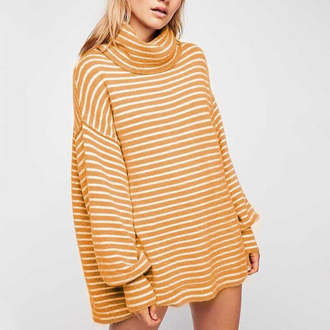 Image of New Turtleneck Striped Loose Pullover Sweater khaki m