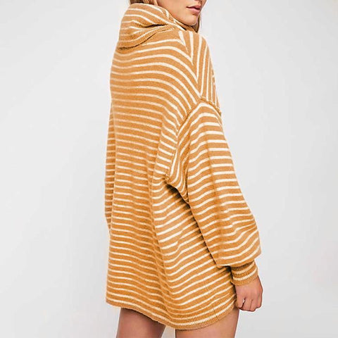 Image of New Turtleneck Striped Loose Pullover Sweater khaki l