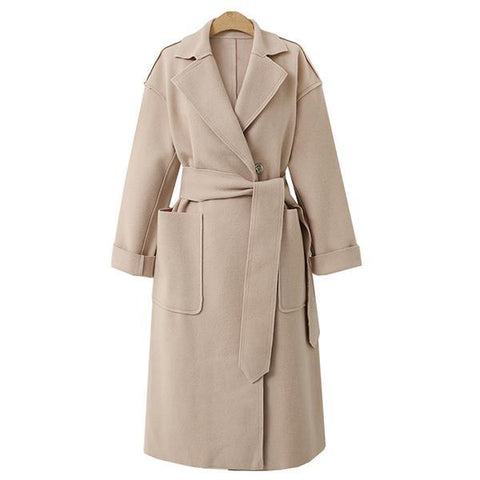 Image of Winter Fashion Long Cashmere Coat With Belt beige s