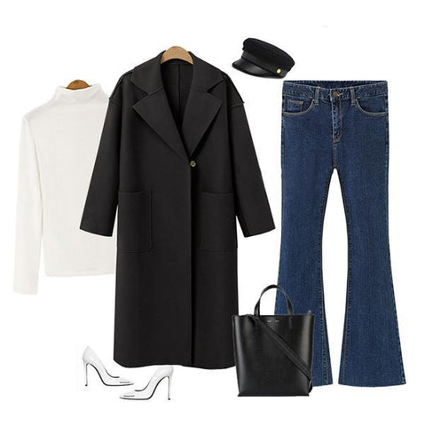 Image of Winter Fashion Long Cashmere Coat With Belt black l