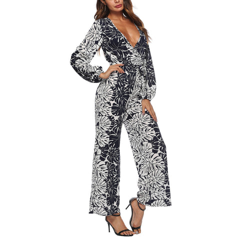 Image of Chiffon Printing Long-Sleeved Trousers With Wide Legs Dark Blues m