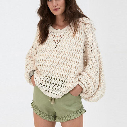Image of Fashionable Pure Color   Hollow Lantern Sleeve Sweater Beige m