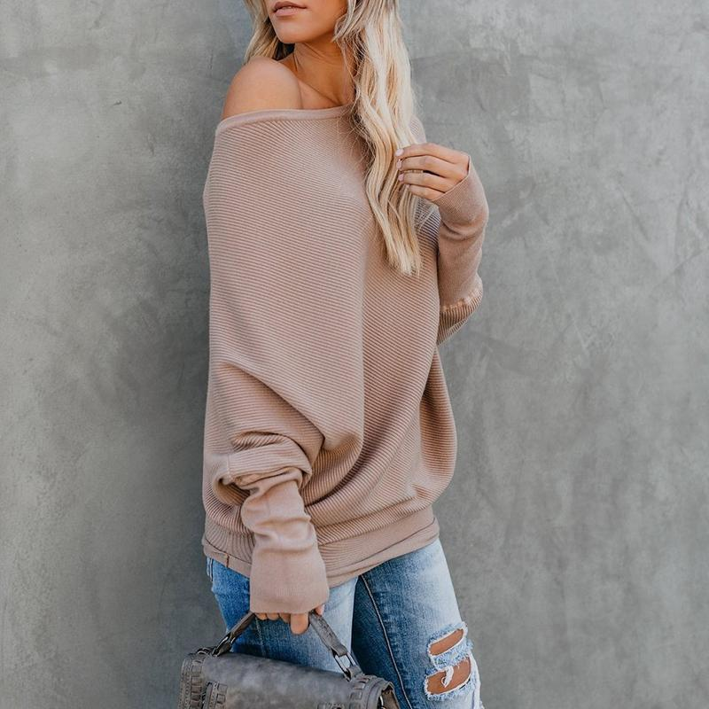 Sexy Pure Colour   Sloping Shoulder Bat Sleeve Sweater Black l