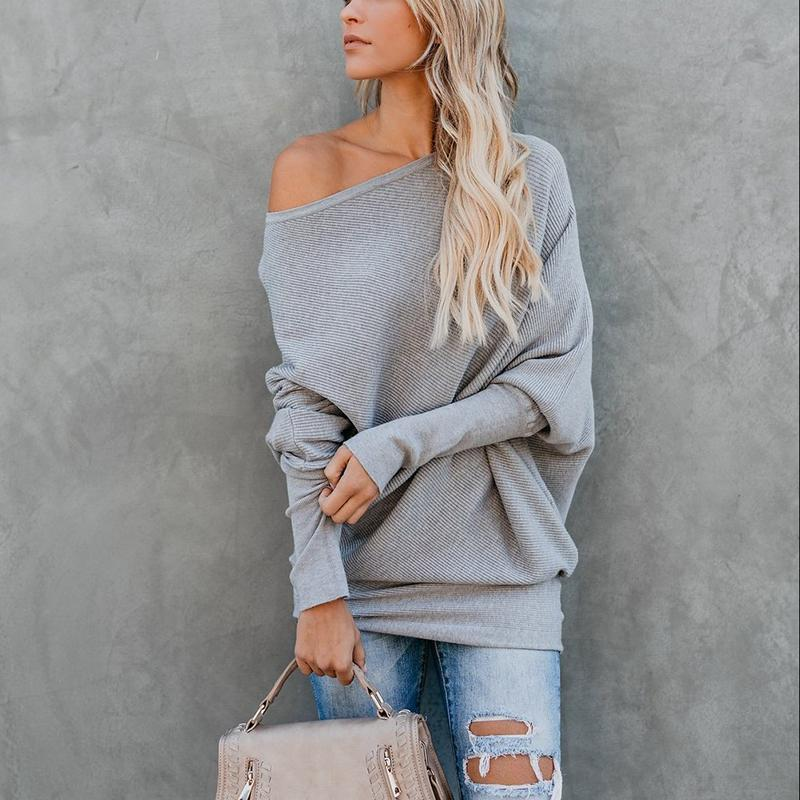 Sexy Pure Colour   Sloping Shoulder Bat Sleeve Sweater Gray l