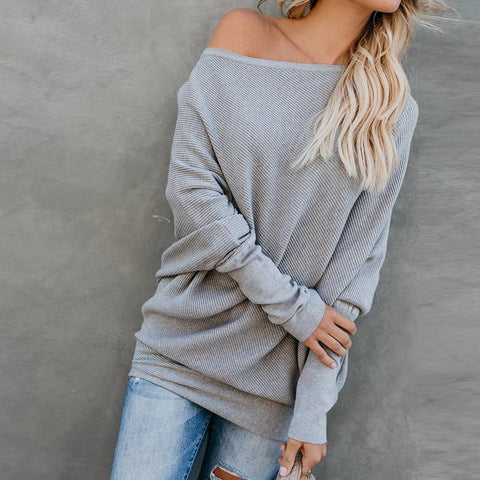 Image of Sexy Pure Colour   Sloping Shoulder Bat Sleeve Sweater Gray 2xl