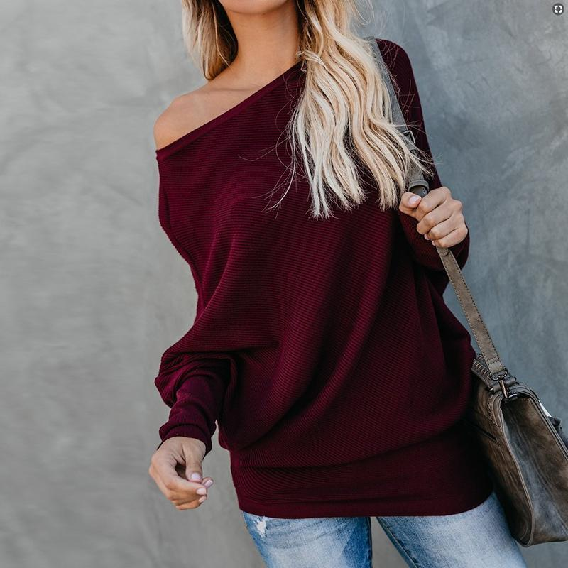 Sexy Pure Colour   Sloping Shoulder Bat Sleeve Sweater White m