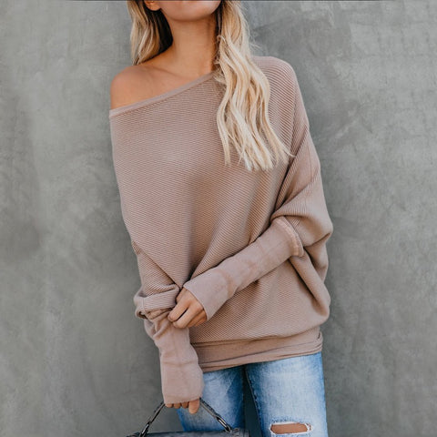 Image of Sexy Pure Colour   Sloping Shoulder Bat Sleeve Sweater Black xl