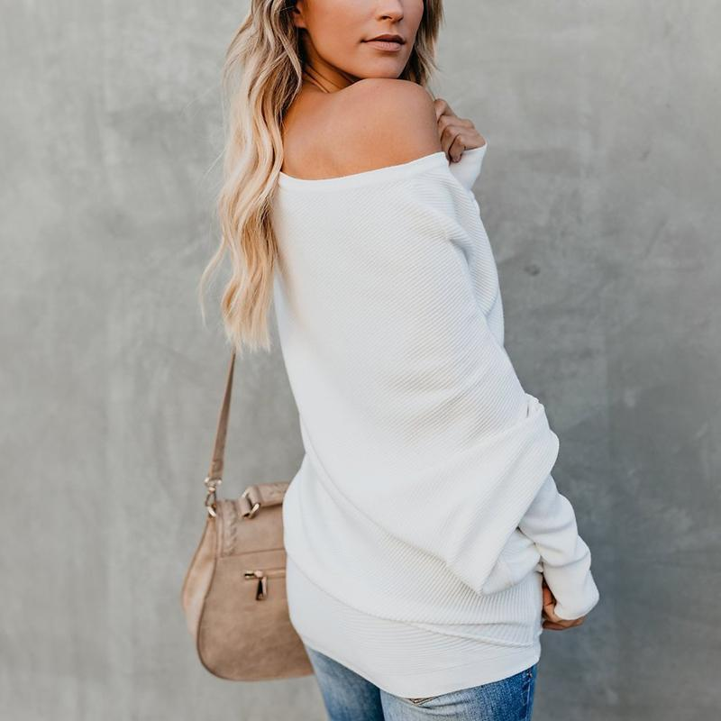 Sexy Pure Colour   Sloping Shoulder Bat Sleeve Sweater White l
