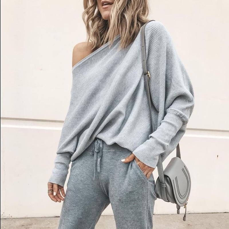 Sexy Pure Colour   Sloping Shoulder Bat Sleeve Sweater Gray xl