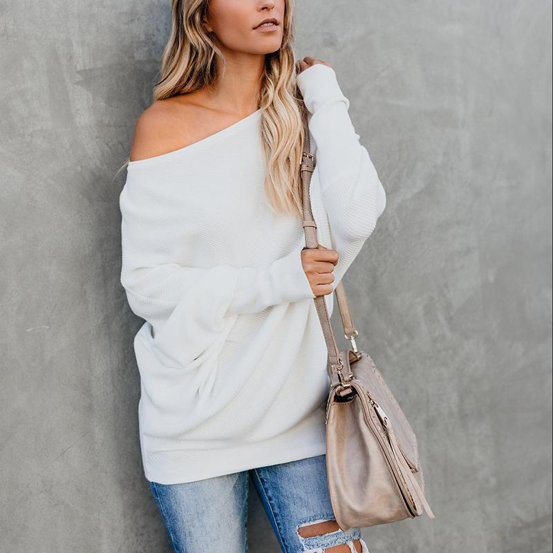 Sexy Pure Colour   Sloping Shoulder Bat Sleeve Sweater White xl