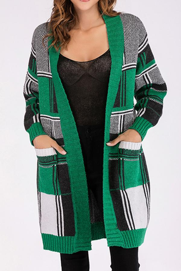 Snap Front  Gingham Cardigans green one size