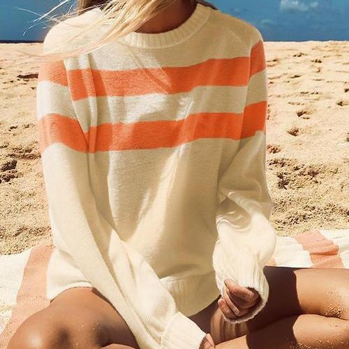 Nifty Youth Casual Fashion Loose Strip Long Sleeve Sweater orange s