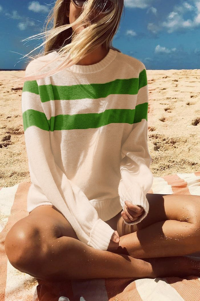 Nifty Youth Casual Fashion Loose Strip Long Sleeve Sweater green s