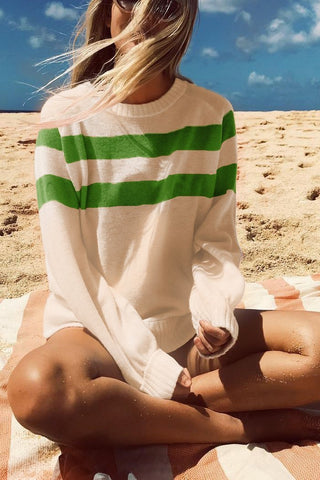 Image of Nifty Youth Casual Fashion Loose Strip Long Sleeve Sweater green s