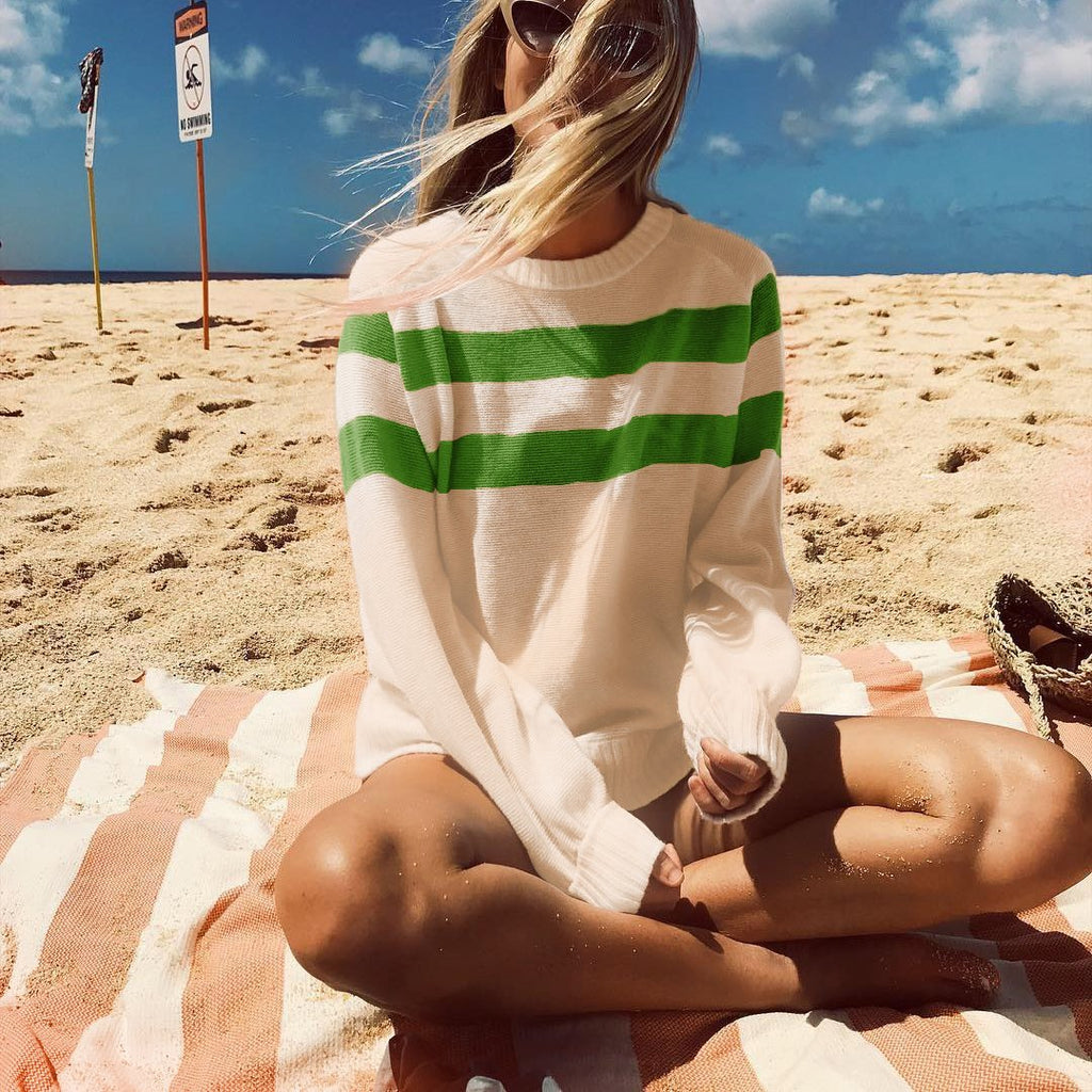 Nifty Youth Casual Fashion Loose Strip Long Sleeve Sweater green m