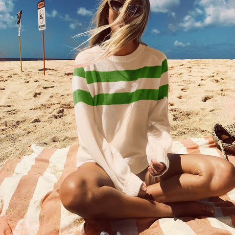 Image of Nifty Youth Casual Fashion Loose Strip Long Sleeve Sweater green m