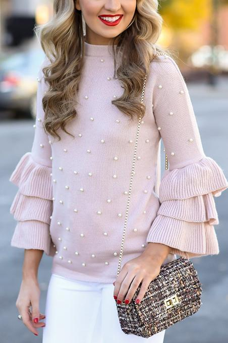 Sweet Fashion Slim Pearl Long Sleeve Ruffled Cuff Sweater pink s