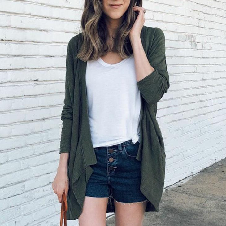 Solid Color With Loose Pocket   Cardigan green m