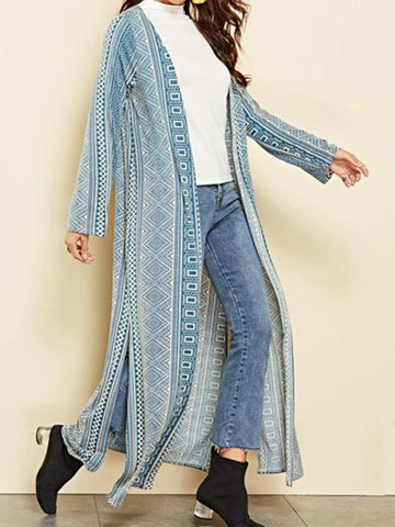 Image of Vacation Casual Fashion Slim Strip Long Sleeve Long Cardigan Blue xl