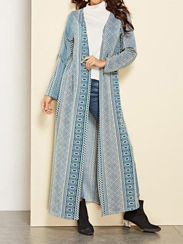 Image of Vacation Casual Fashion Slim Strip Long Sleeve Long Cardigan Blue m