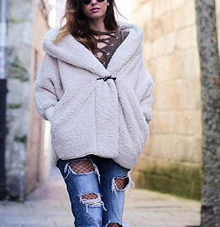 Double-Layer Cashmere Comfortable Warm Hooded Loose Jacket white 2xl