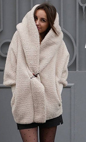 Image of Double-Layer Cashmere Comfortable Warm Hooded Loose Jacket white xl