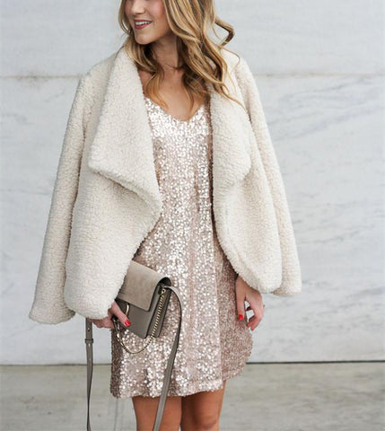 Image of Solid Color Plush Warm Jacket white m