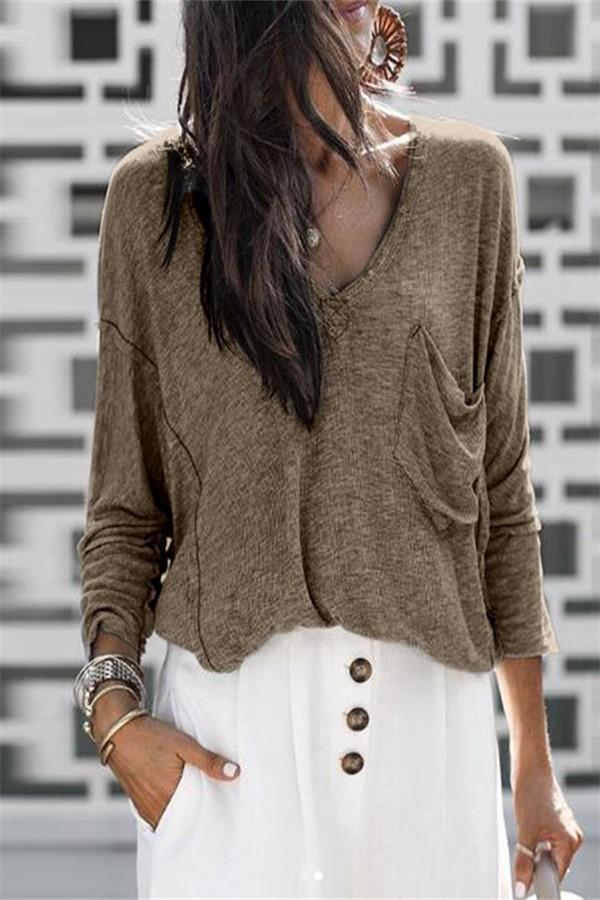 Pure Color V-Neck Knit Sweater gray l
