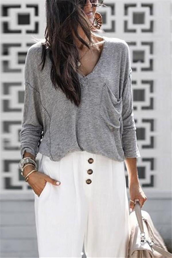 Pure Color V-Neck Knit Sweater gray s