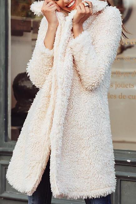 Lady Stylish Fur Thermal Plain Long Sleeve Cardigan White s