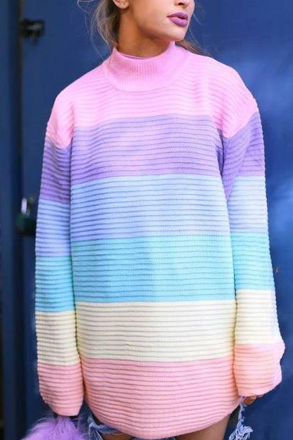 Sweet Nifty Casual Chic Loose Rainbow Long Sleeve Sweater Same As Photo one size
