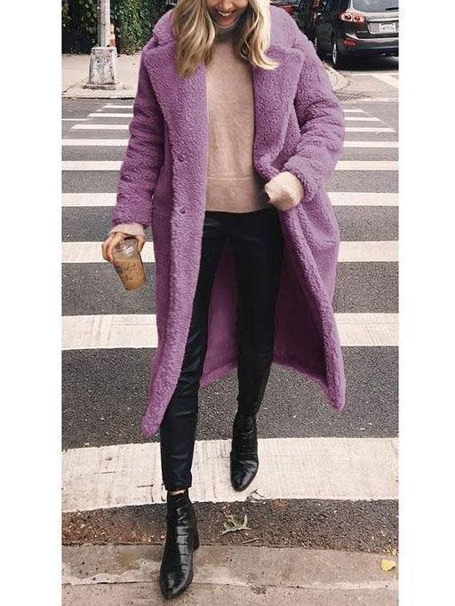 Woolen Long Lapels Solid Color   Coat Brown l