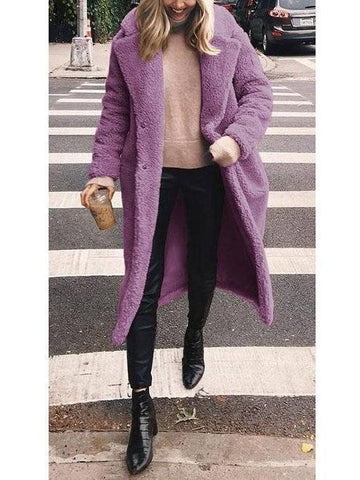 Image of Woolen Long Lapels Solid Color   Coat Brown l