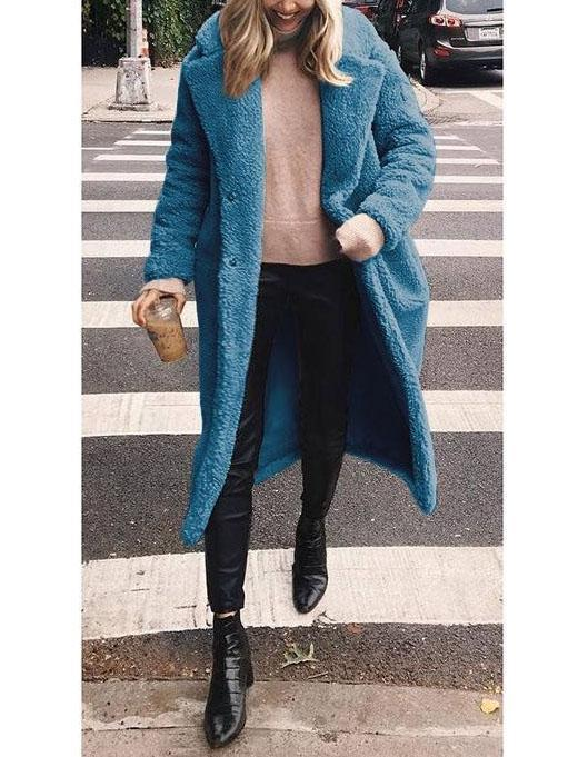 Woolen Long Lapels Solid Color   Coat Gray m